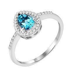 Серебряное кольцо с топазом и фианитами 000125607