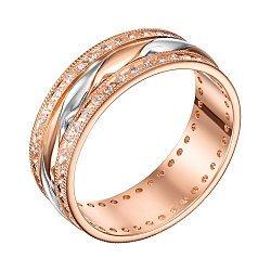 Золотое обручальное кольцо Купидон в комбинированном цвете с фианитами