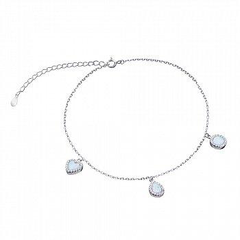 Срібний браслет з опалами і фіанітами 000139610