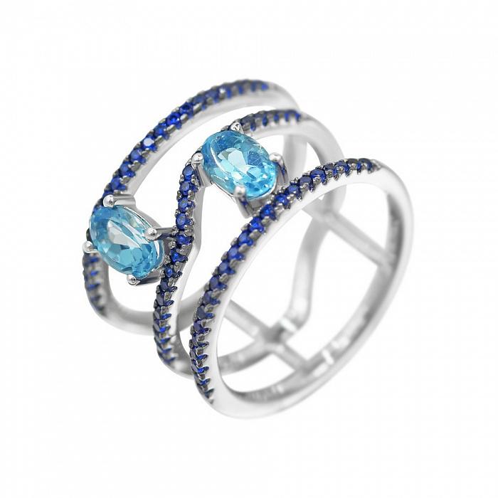 Серебряное кольцо Наргиз с топазом и синими фианитами 000081649