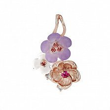 Золотой кулон с перламутром, рубинами, топазами и бриллиантами Романтика
