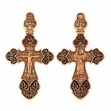 Золотой крестик с черным родием и эмалью Архангел