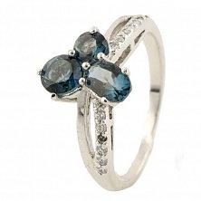 Серебряное кольцо Диана с лондон топазом и фианитами
