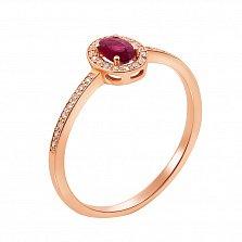 Кольцо в красном золоте Соната с рубином и бриллиантами