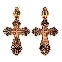 Золотой крестик Архангел  в комбинированном цвете с черной эмалью и черным родием