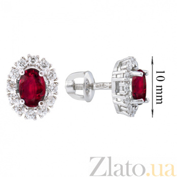 Серебряные серьги Ретро-гвоздик с рубинами и фианитами 000015314