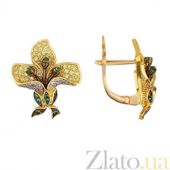 Серьги из желтого золота с цирконием Весенняя орхидея VLT--ТТ2216-1