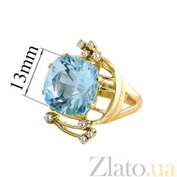 Золотое кольцо с топазом и бриллиантами Гроно PTL--Гроно/к
