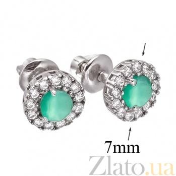 Серебряные серьги-пуссеты с зеленым агатом Солнышко 2112/9р агат4