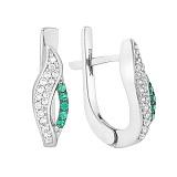 Серебряные серьги с зелёным цирконием Анита