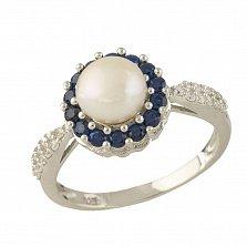 Серебряное кольцо Валентия с жемчугом, синтезированным сапфиром и фианитами