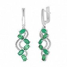 Серебряные серьги Арина с зеленым агатом, зеленым кварцем и фианитами