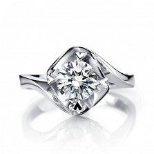 Помолвочное кольцо Любовный вихрь в белом золоте с бриллиантом 0,5ct в крапанах-сердцах