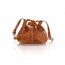 Кожаный клатч-мешок Genuine Leather 1678 цвета бархатный коньячный с плечевым ремнем
