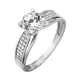 Золотое кольцо с белым цирконием Флоренция