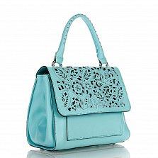 Кожаная деловая сумка Genuine Leather 8915 бирюзового цвета с ажурным узором на клапане