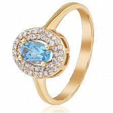 Золотое кольцо с топазом и фианитами Елена