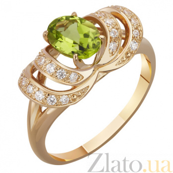Золотое кольцо с хризолитом Нежность весны AUR--31780 07