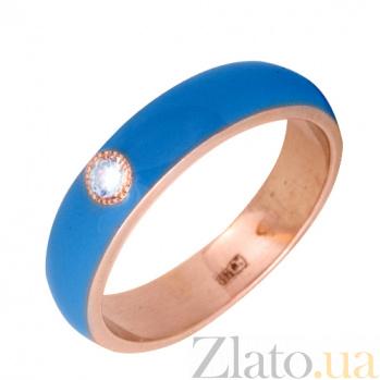 Золотое кольцо Пастель с фианитом и эмалью цвета синее небо К220кр/син