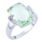 Серебряное кольцо Пальмира с зеленым аметистом и фианитами