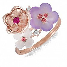 Золотое кольцо с перламутром, рубинами, топазами и бриллиантами Романтика