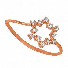 Золотое кольцо Нинель с цирконием