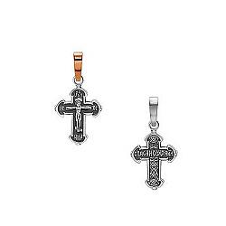 Серебряный черненый крест Ориентир с золотой накладкой 000053679