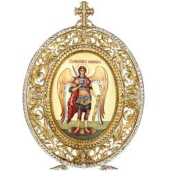 Серебряная икона с позолотой и фианитами Архангел Михаил 000004137