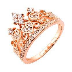 Кольцо-корона из красного золота с фианитами 000117160