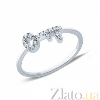 Серебряное кольцо Ключ с фианитами  AQA--SR-6341