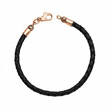 Ювелирный браслет Имоджен из черной плетеной кожи с замочком из красного золота с чернением