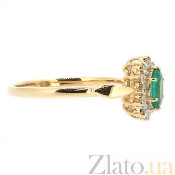 Золотое кольцо с бриллиантами и изумрудом Малинка 000021383