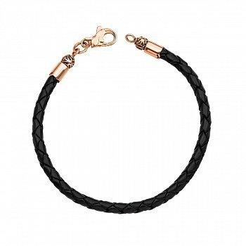 Ювелирный браслет из черной плетеной кожи с замочком из красного золота 000129577