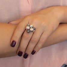 Серебряное кольцо Космический треугольник с чернением