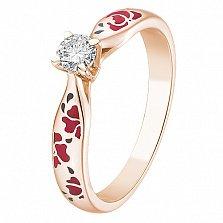 Кольцо из красного золота Маки с бриллиантом и эмалью