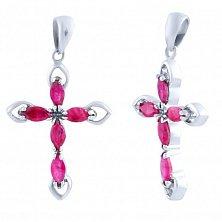 Серебряный крестик Розовый рассвет с рубинами
