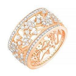 Серебряное кольцо с фианитами и позолотой в стиле Тиффани 000078633