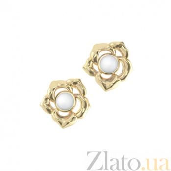 Золотые серьги с кахолонгом Amoroso 000029689
