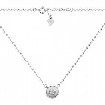 Серебряное колье с перламутром и фианитами 000132626