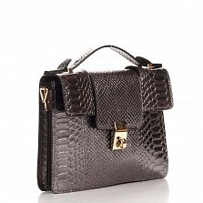 Кожаный клатч Genuine Leather 1606 серо-черного цвета под кожу рептилии с короткой ручкой