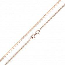 Золотая родированная цепочка Фрик плетения барли с насечкой-звездой на перемычках, 1,5мм