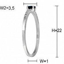 Кольцо из белого золота с бриллиантами и сапфиром Диаманда
