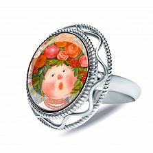 Серебряное кольцо с муранским стеклом Лесная песня