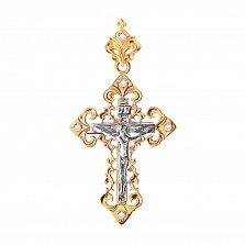 Золотой крестик Вера в комбинированном цвете с узорным бунтиком и белым цирконием