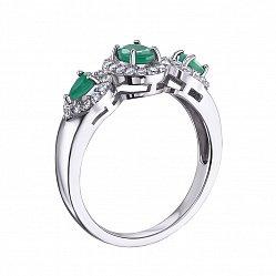 Серебряное кольцо с изумрудами и фианитами 000133615