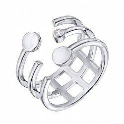 Серебряное разомкнутое кольцо с фианитом 000133989