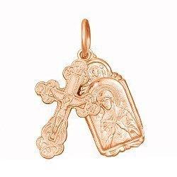 Серебряный крестик с ладанкой Заповедь с позолотой 000028628