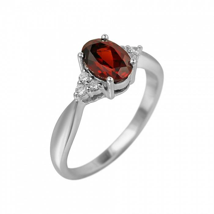 Серебряное кольцо Мирра с гранатом и фианитами 000081568