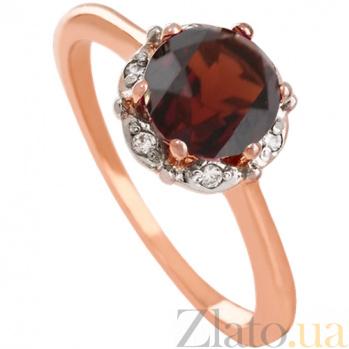 Золотое кольцо с гранатом и фианитами Ада 000024470
