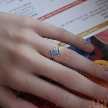 Золотое кольцо с цветной эмалью Дельфинчик TNG--300379Е